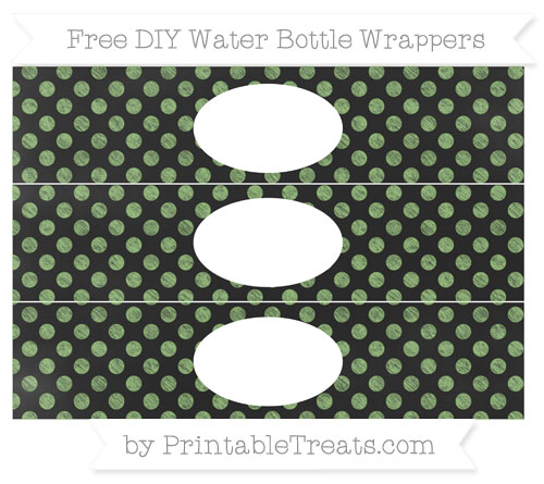 Free Pistachio Green Dotted Pattern Chalk Style DIY Water Bottle Wrappers