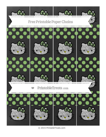 Free Pistachio Green Dotted Pattern Chalk Style Hello Kitty Paper Chains