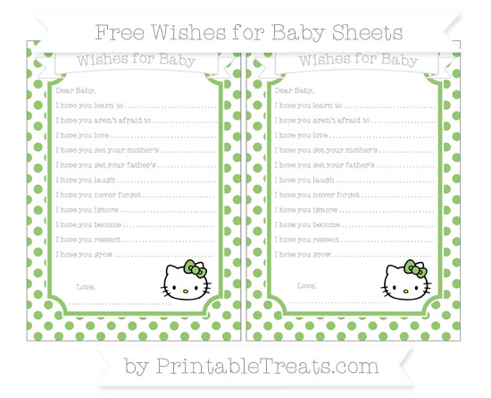 Free Pistachio Green Dotted Pattern Hello Kitty Wishes for Baby Sheets