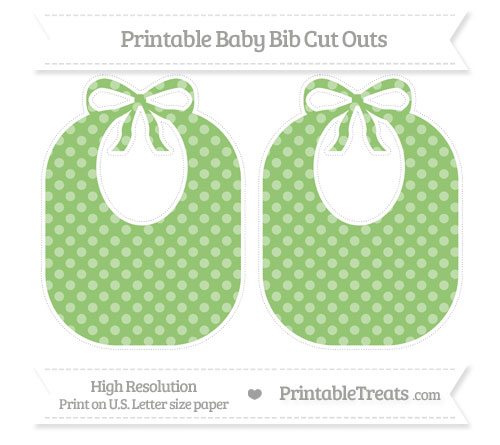 Free Pistachio Green Dotted Pattern Large Baby Bib Cut Outs