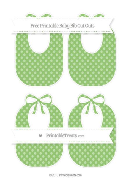Free Pistachio Green Dotted Pattern Medium Baby Bib Cut Outs