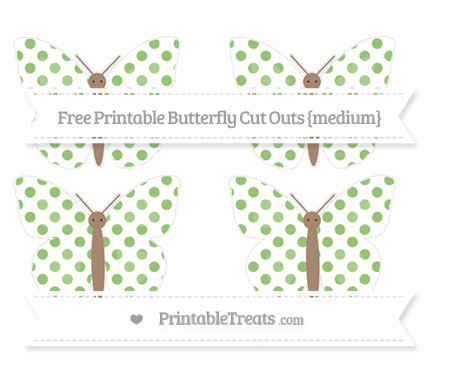 Free Pistachio Green Dotted Pattern Medium Butterfly Cut Outs