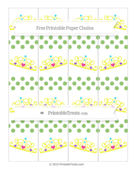 Free Pistachio Green Dotted Pattern Princess Tiara Paper Chains