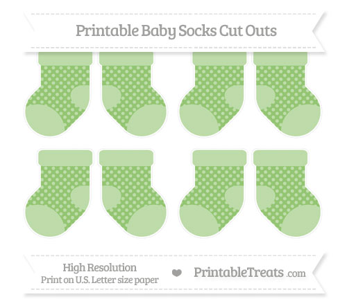 Free Pistachio Green Dotted Pattern Small Baby Socks Cut Outs