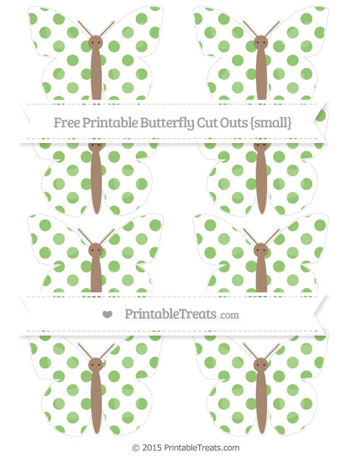 Free Pistachio Green Dotted Pattern Small Butterfly Cut Outs
