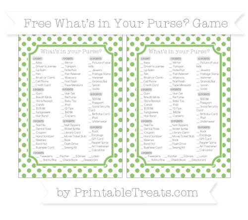 Free Pistachio Green Dotted Pattern What's in Your Purse Baby Shower Game