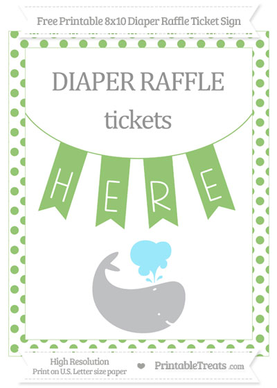 Free Pistachio Green Dotted Whale 8x10 Diaper Raffle Ticket Sign