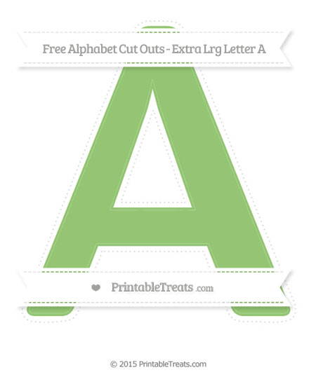 Free Pistachio Green Extra Large Capital Letter A Cut Outs