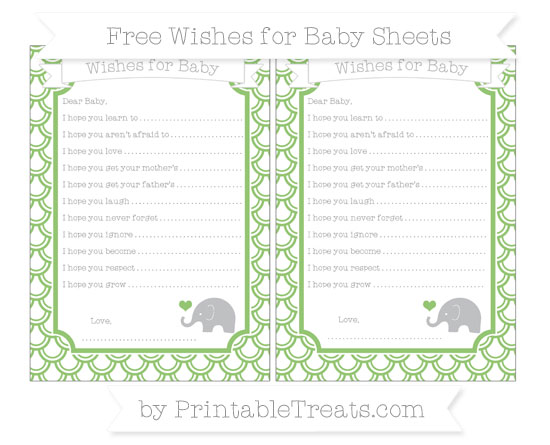 Free Pistachio Green Fish Scale Pattern Baby Elephant Wishes for Baby Sheets