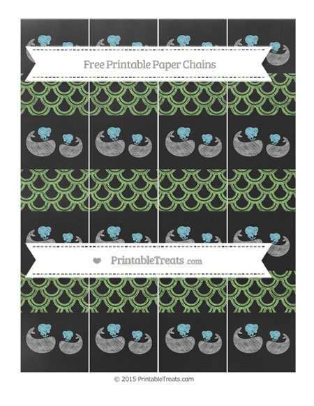 Free Pistachio Green Fish Scale Pattern Chalk Style Baby Whale Paper Chains