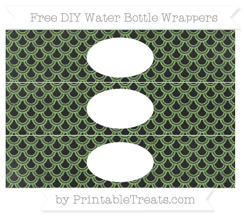 Free Pistachio Green Fish Scale Pattern Chalk Style DIY Water Bottle Wrappers