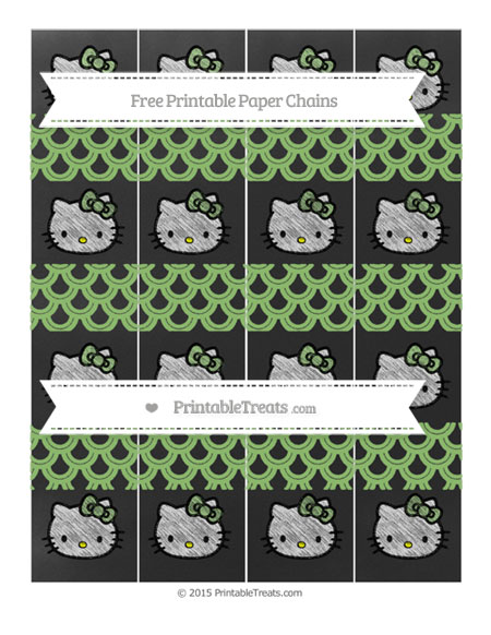 Free Pistachio Green Fish Scale Pattern Chalk Style Hello Kitty Paper Chains
