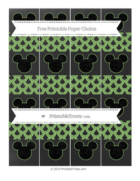 Free Pistachio Green Fish Scale Pattern Chalk Style Mickey Mouse Paper Chains