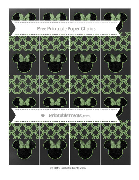 Free Pistachio Green Fish Scale Pattern Chalk Style Minnie Mouse Paper Chains