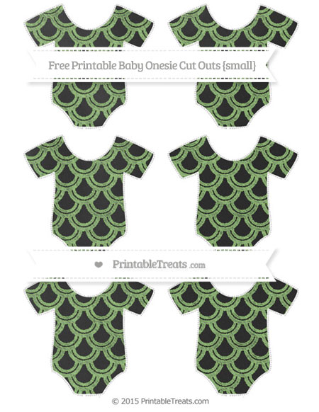 Free Pistachio Green Fish Scale Pattern Chalk Style Small Baby Onesie Cut Outs