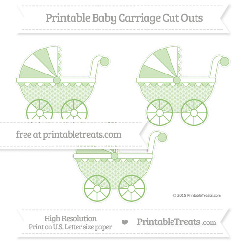 Free Pistachio Green Fish Scale Pattern Medium Baby Carriage Cut Outs