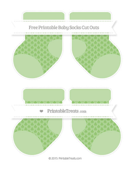 Free Pistachio Green Fish Scale Pattern Medium Baby Socks Cut Outs