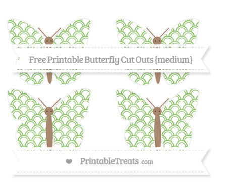Free Pistachio Green Fish Scale Pattern Medium Butterfly Cut Outs