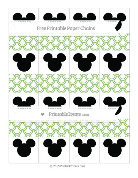 Free Pistachio Green Fish Scale Pattern Mickey Mouse Paper Chains