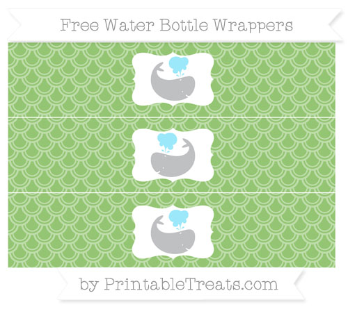 Free Pistachio Green Fish Scale Pattern Whale Water Bottle Wrappers