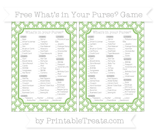 Free Pistachio Green Fish Scale Pattern What's in Your Purse Baby Shower Game
