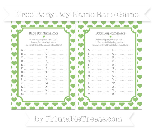 Free Pistachio Green Heart Pattern Baby Boy Name Race Game