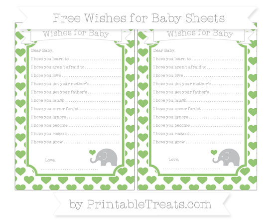 Free Pistachio Green Heart Pattern Baby Elephant Wishes for Baby Sheets