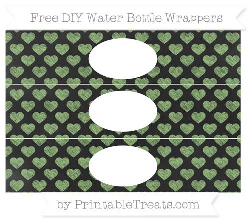 Free Pistachio Green Heart Pattern Chalk Style DIY Water Bottle Wrappers