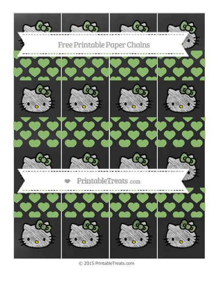 Free Pistachio Green Heart Pattern Chalk Style Hello Kitty Paper Chains