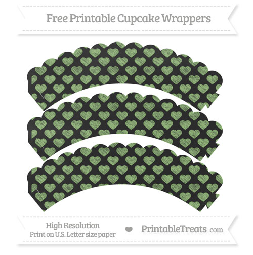 Free Pistachio Green Heart Pattern Chalk Style Scalloped Cupcake Wrappers