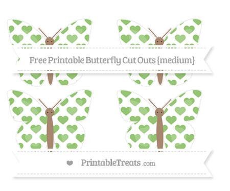 Free Pistachio Green Heart Pattern Medium Butterfly Cut Outs
