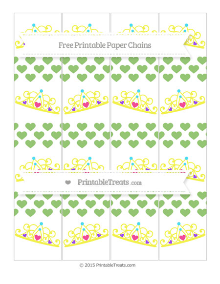 Free Pistachio Green Heart Pattern Princess Tiara Paper Chains