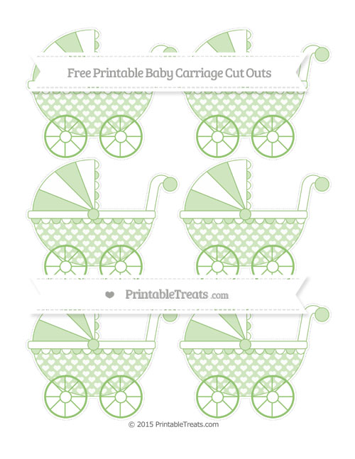 Free Pistachio Green Heart Pattern Small Baby Carriage Cut Outs