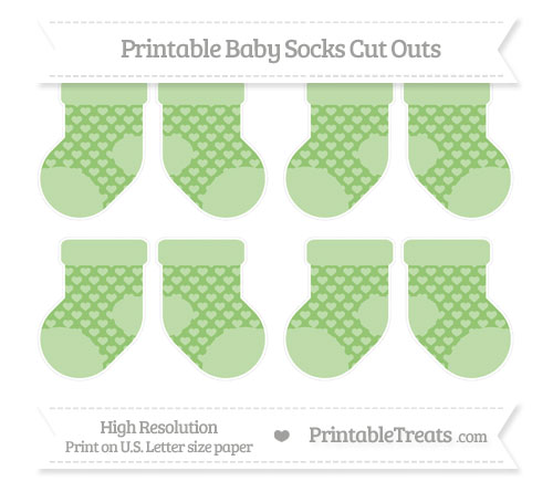 Free Pistachio Green Heart Pattern Small Baby Socks Cut Outs