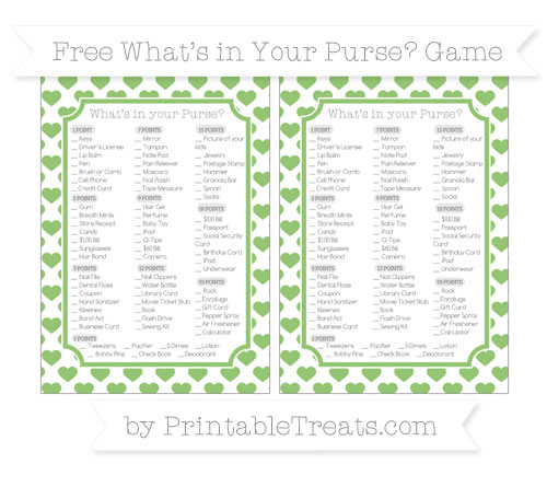 Free Pistachio Green Heart Pattern What's in Your Purse Baby Shower Game