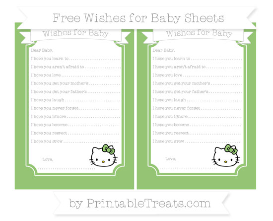 Free Pistachio Green Hello Kitty Wishes for Baby Sheets