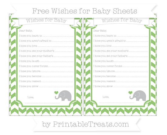 Free Pistachio Green Herringbone Pattern Baby Elephant Wishes for Baby Sheets
