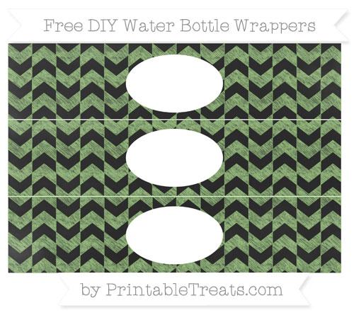 Free Pistachio Green Herringbone Pattern Chalk Style DIY Water Bottle Wrappers