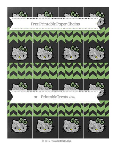 Free Pistachio Green Herringbone Pattern Chalk Style Hello Kitty Paper Chains