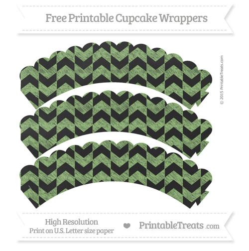 Free Pistachio Green Herringbone Pattern Chalk Style Scalloped Cupcake Wrappers