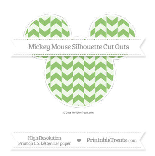 Free Pistachio Green Herringbone Pattern Extra Large Mickey Mouse Silhouette Cut Outs