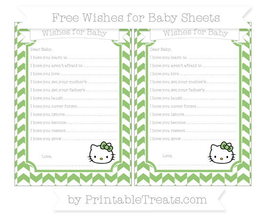Free Pistachio Green Herringbone Pattern Hello Kitty Wishes for Baby Sheets