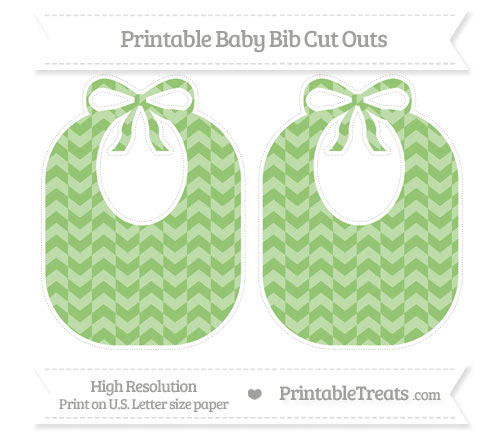 Free Pistachio Green Herringbone Pattern Large Baby Bib Cut Outs