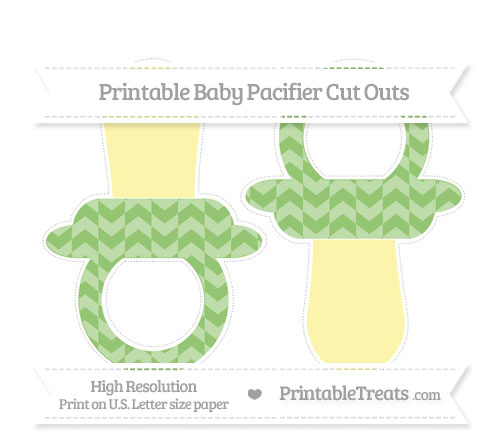 Free Pistachio Green Herringbone Pattern Large Baby Pacifier Cut Outs