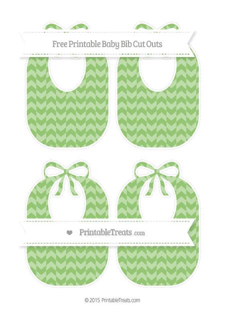 Free Pistachio Green Herringbone Pattern Medium Baby Bib Cut Outs