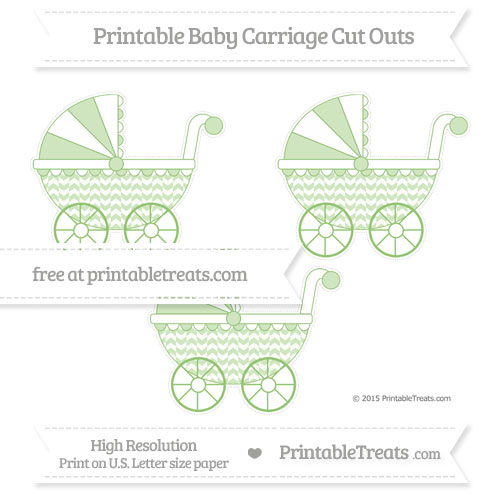 Free Pistachio Green Herringbone Pattern Medium Baby Carriage Cut Outs