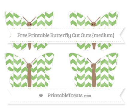 Free Pistachio Green Herringbone Pattern Medium Butterfly Cut Outs