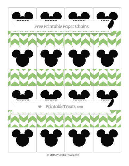 Free Pistachio Green Herringbone Pattern Mickey Mouse Paper Chains