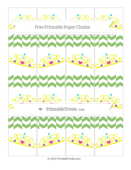 Free Pistachio Green Herringbone Pattern Princess Tiara Paper Chains