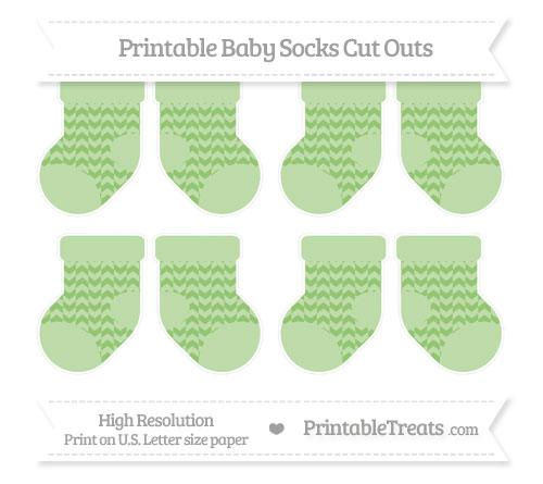 Free Pistachio Green Herringbone Pattern Small Baby Socks Cut Outs